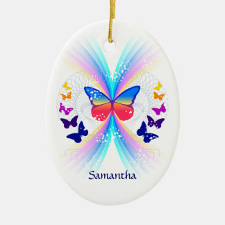 Abstract butterfly rainbow personalized ornament