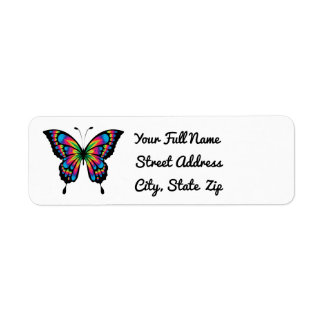Abstract Butterfly Return Address Label