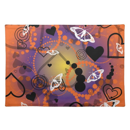 Abstract Butterfly Sphere Orange Purple Placemat