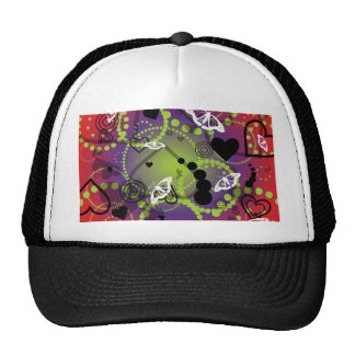 Abstract Butterfly Sphere Red Green Purple Mesh Hats