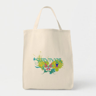 Abstract Butterfly Thyroid Cancer Survivor Grocery Tote Bag