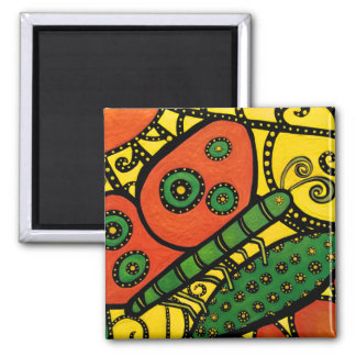Abstract Butterfly Yellow Orange & Green Magnet