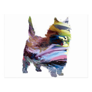 Abstract Caim terrier Silhouette Postcard