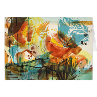 Abstract California Poppies Landscape Card