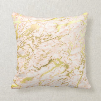 Abstract Candy Coral Gold Pastel Marble Luxury Cushion