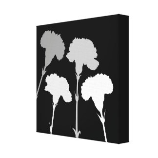 Abstract Carnation Silhouettes Monochrome Canvas Print