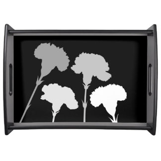 Abstract Carnation Silhouettes Monochrome Serving Tray