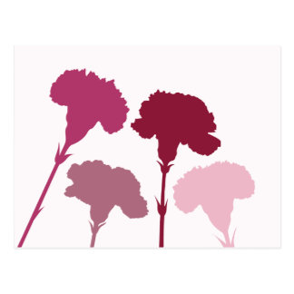 Abstract Carnation Silhouettes – Reds & Pinks Postcard