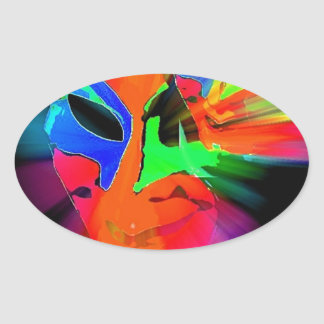 Abstract Carnival Mask Oval Sticker