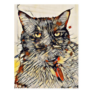 Abstract Cat Art Post Card