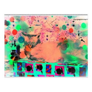 Abstract cat postcard