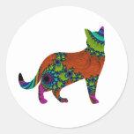 Abstract Cat Round Sticker