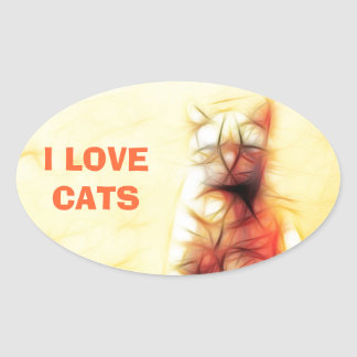 Abstract Cat Oval Stickers