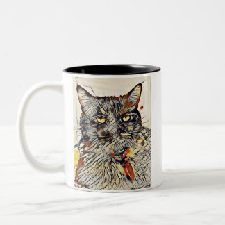 Abstract Cat Two-Tone Mug