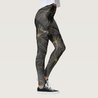 Abstract Celestial Black Starry Night Leggings