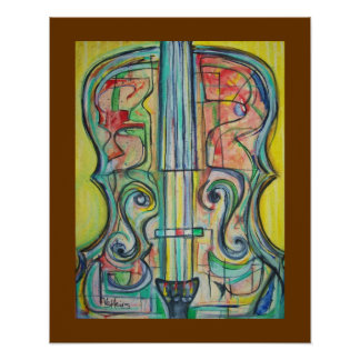 Abstract Cello Poster by ValAries