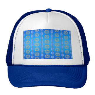 Abstract Cerulean and Gold Pattern Trucker Hat