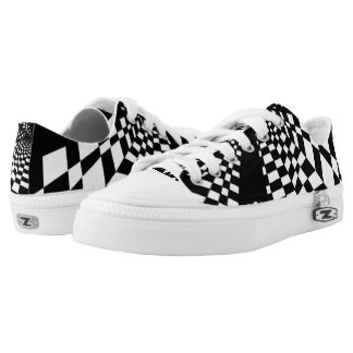 Abstract Checker Tiles Custom Zipz Low Top Kickers Printed Shoes