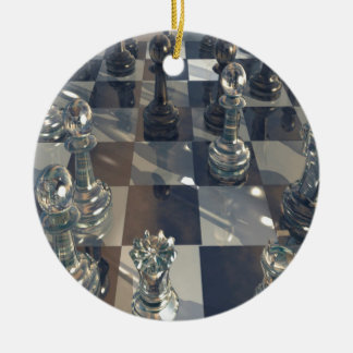 Abstract Chess Glass Board Ornament