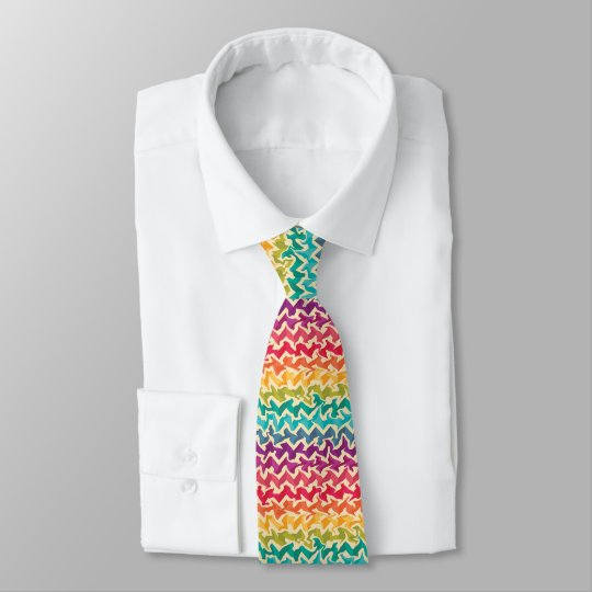 Abstract chevron design in bright rainbow colours tie