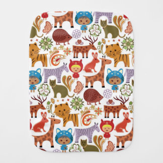 Abstract Child and Animals Pattern Burp Cloth