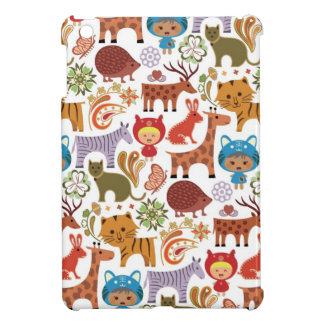 Abstract Child and Animals Pattern Case For The iPad Mini