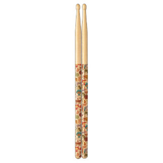 Abstract Child and Animals Pattern Drumsticks