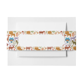 Abstract Child and Animals Pattern Invitation Belly Band