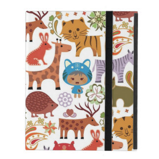Abstract Child and Animals Pattern iPad Case