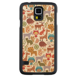 Abstract Child and Animals Pattern Maple Galaxy S5 Slim Case