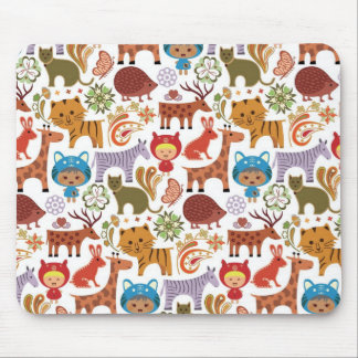 Abstract Child and Animals Pattern Mouse Pad