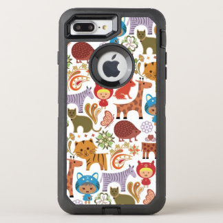 Abstract Child and Animals Pattern OtterBox Defender iPhone 8 Plus/7 Plus Case
