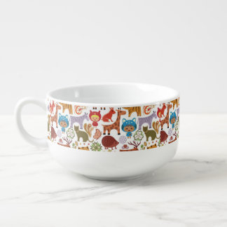 Abstract Child and Animals Pattern Soup Bowl With Handle