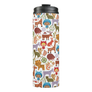 Abstract Child and Animals Pattern Thermal Tumbler