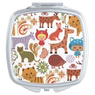 Abstract Child and Animals Pattern Travel Mirrors