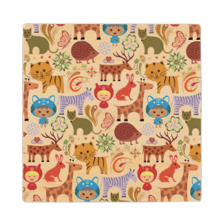 Abstract Child and Animals Pattern Wood Coaster