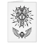 Abstract Christian Tribal Tattoo Design Greeting Cards