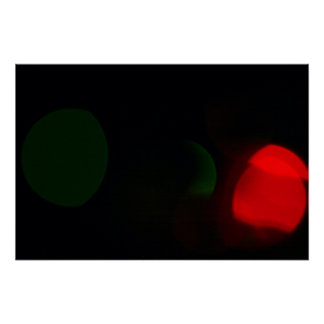 Abstract Christmas Lights Green & Red Poster