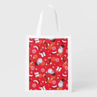 Abstract christmas pattern reusable grocery bag
