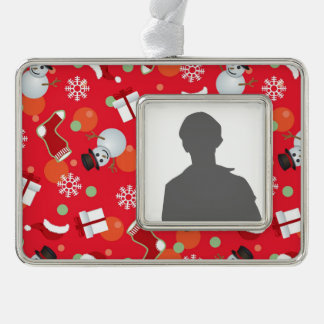 Abstract christmas pattern silver plated framed ornament