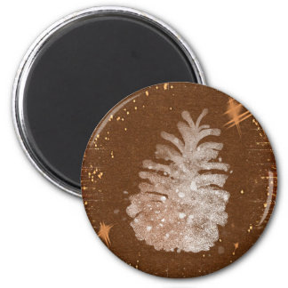 Abstract Christmas Pinecone 6 Cm Round Magnet