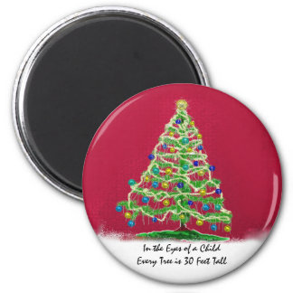 Abstract Christmas Tree Art with Ornaments 6 Cm Round Magnet