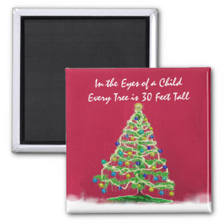 Abstract Christmas Tree Art with Ornaments Square Magnet