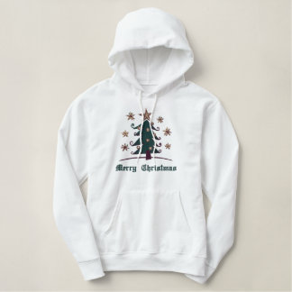 Abstract Christmas Tree Embroidered Hoodie