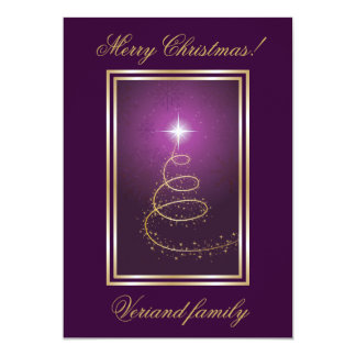 Abstract Christmas Tree on glowing purple card Personalized Announcement