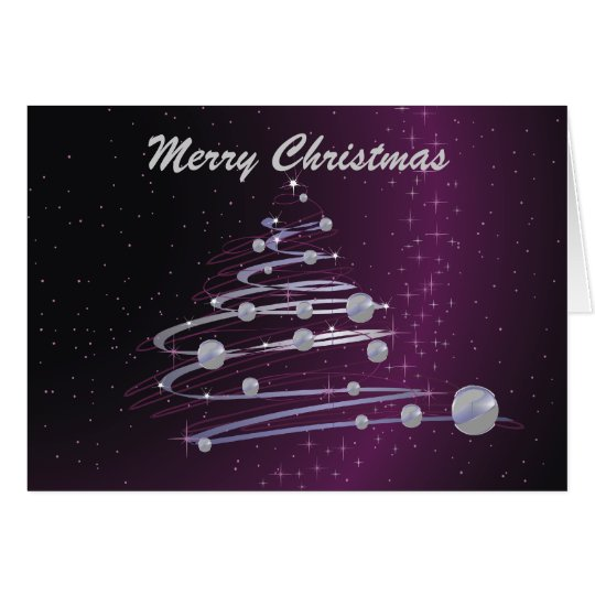 Abstract Christmas Tree On Purple Greeting Card