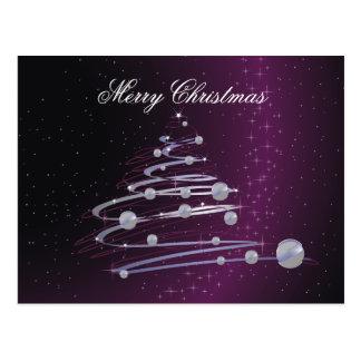 Abstract Christmas Tree On Purple Postcard