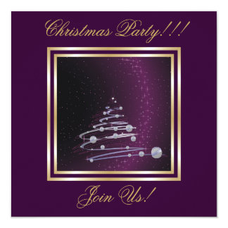 "Abstract Christmas Tree Party  purple Invitation 5.25"" Square Invitation Card"