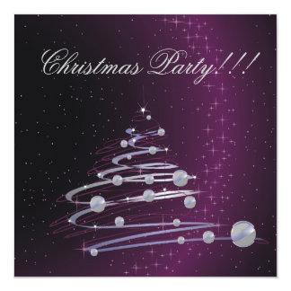 Abstract Christmas Tree Purple Party  Invitation