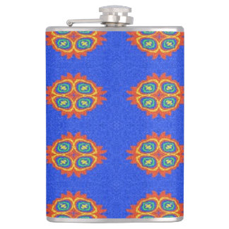 Abstract circle shape on blue background hip flask